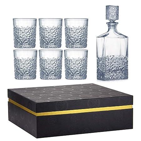 ZCXBHD Decantador Whisky y Conjunto Vasos, Cristal sin Plomo ...