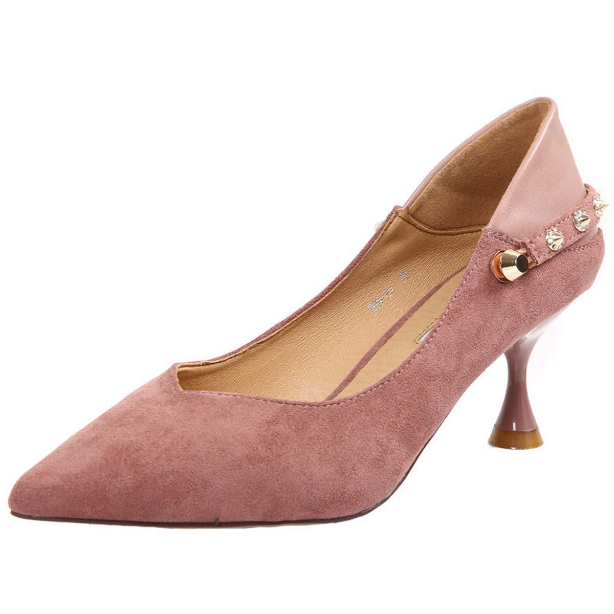 KPHY Damenschuhe Zwei Tragen Einzelne Schuhe Witze Witze Witze Rosa Schleife Nieten Scharfen Enden und 6 cm Hoch Rosa 37 b67958