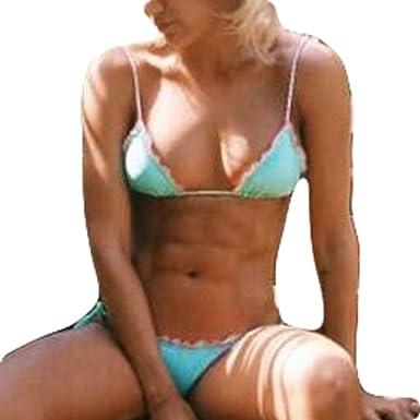 Femme 2 Pièce Maillot de Bain - Sexy Push Up Soutiens-gorge Rembourrés et Bas Mode Couleur Unie Swimsuit Bikini Maillot de Plage Marque De Jeu Nouveau Unisexe gCy6VCc