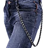Men Pants Chain Punk Leather Braided in Platinum Plated Cuban Chain Trousers Jeans Chain Key Chain Accessories