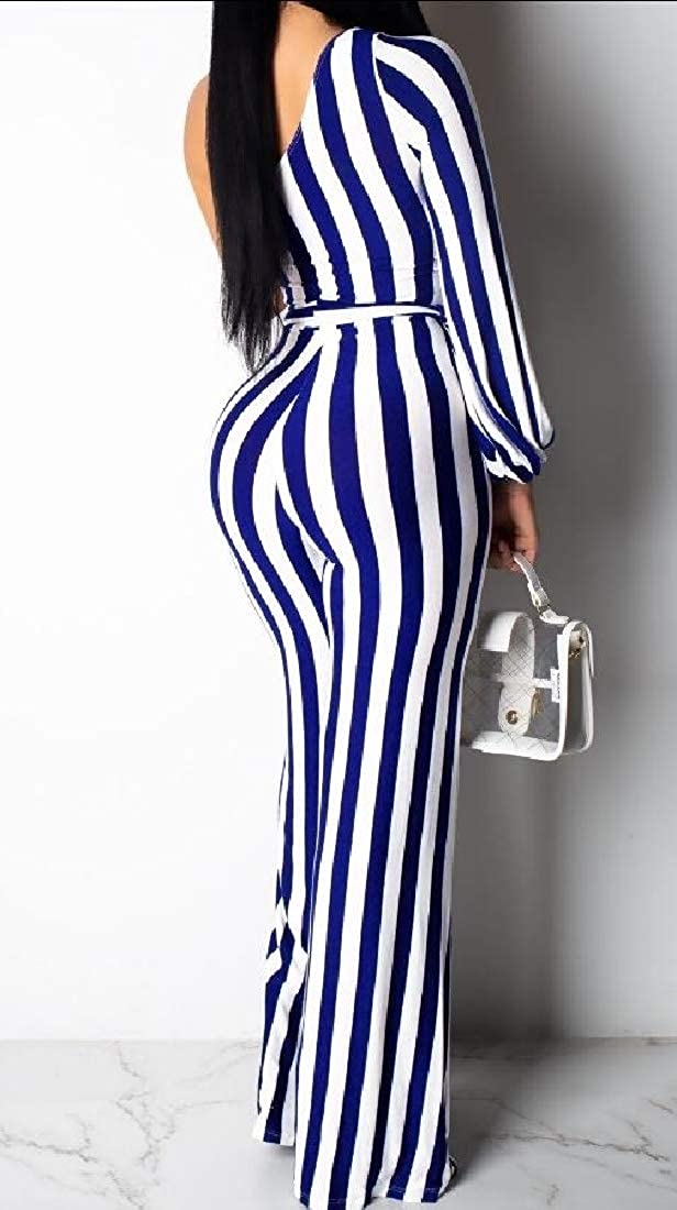 xiaohuoban Womens Elegant One Shoulder Long Sleeve One Shoulder Striped Jumpsuits High Waisted Romper