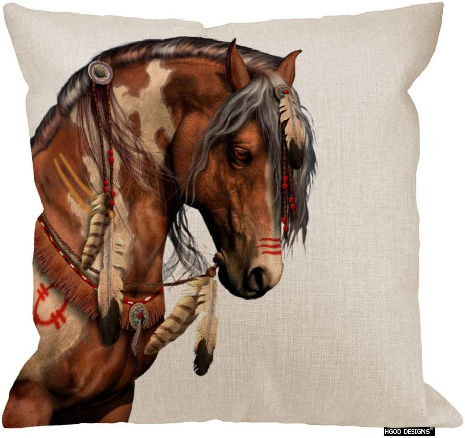 HGOD DESIGNS Oil Painting Indian Brown Feather Horses Design Printed Cotton Linen Decorative Throw Pillow Case Cushion Cover Square 18 X 18Inches