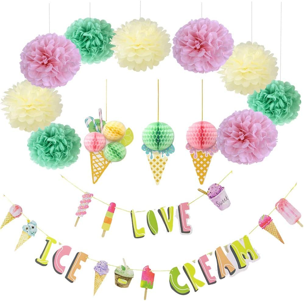 Ice Cream Party Decoration Summer Popsicle Ice Cream Honeycomb Ball Tissue Paper I Love Ice Cream Banner for Hawaii Luau Party Birthday Supplies