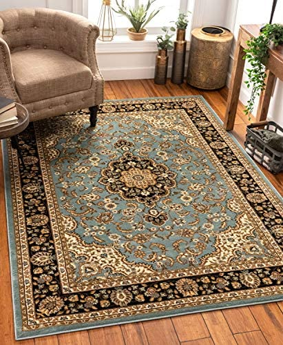 """Noble Medallion Light Blue Persian Floral Oriental Formal Traditional Area Rug 5x7 5'3"""" x 7'3"""" Easy to Clean Stain Fade Resistant Shed Free Modern Contemporary Soft Living Dining Room Rug"""