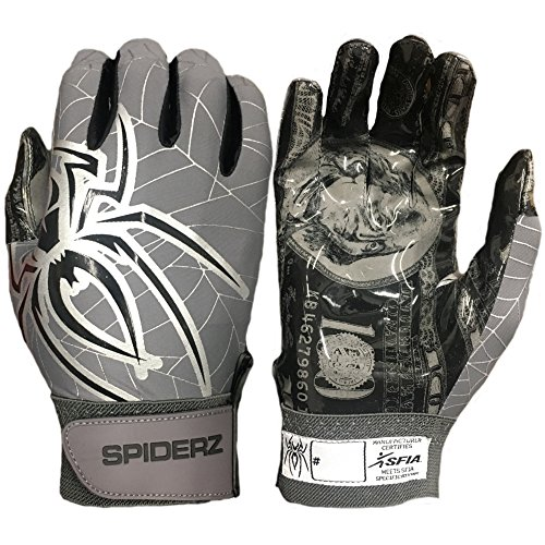 Spiderz Adult RAW Football Glove with $$ Palms (Dirty Money, Large) ()