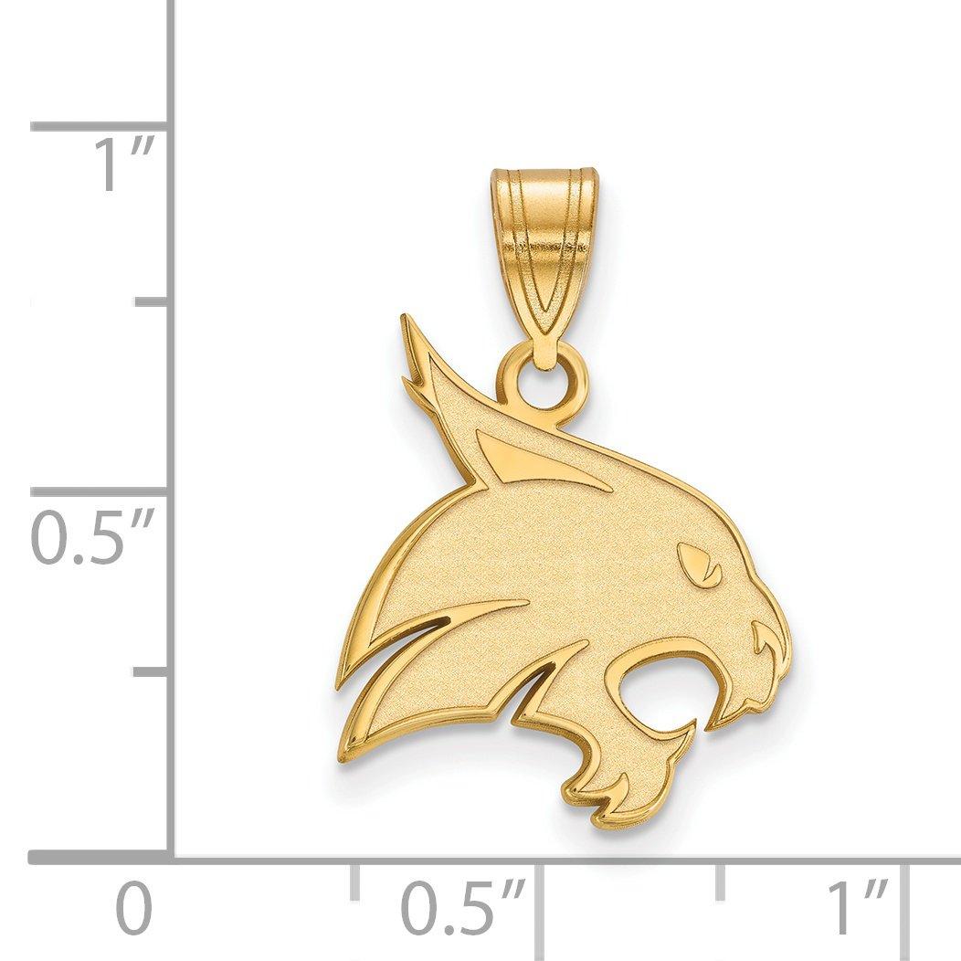 14k Yellow Gold Texas State University Bobcats Boko Mascot Head Pendant 19x16mm