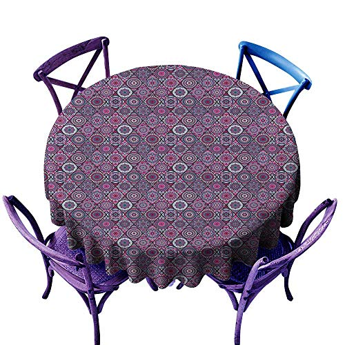 Warm Family Mandala Fabric Dust-Proof Table Cover Arabic Ottoman Motifs Vintage Design Elements Diamond Line Moroccan Pattern for Kitchen Dinning Tabletop Decoration D55
