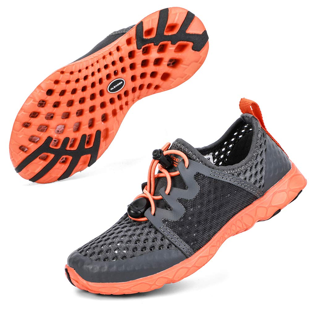 ALEADER Boys Beach Water Shoes, Summer Breathable Sneakers for Child/Youth Dark Gray/Orange/196K 4 M US Big Kid