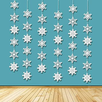 7FT CHRISTMAS SHIMMERING HANGING SNOWFLAKE STRING DECOR DISNEY FROZEN-DECORATION