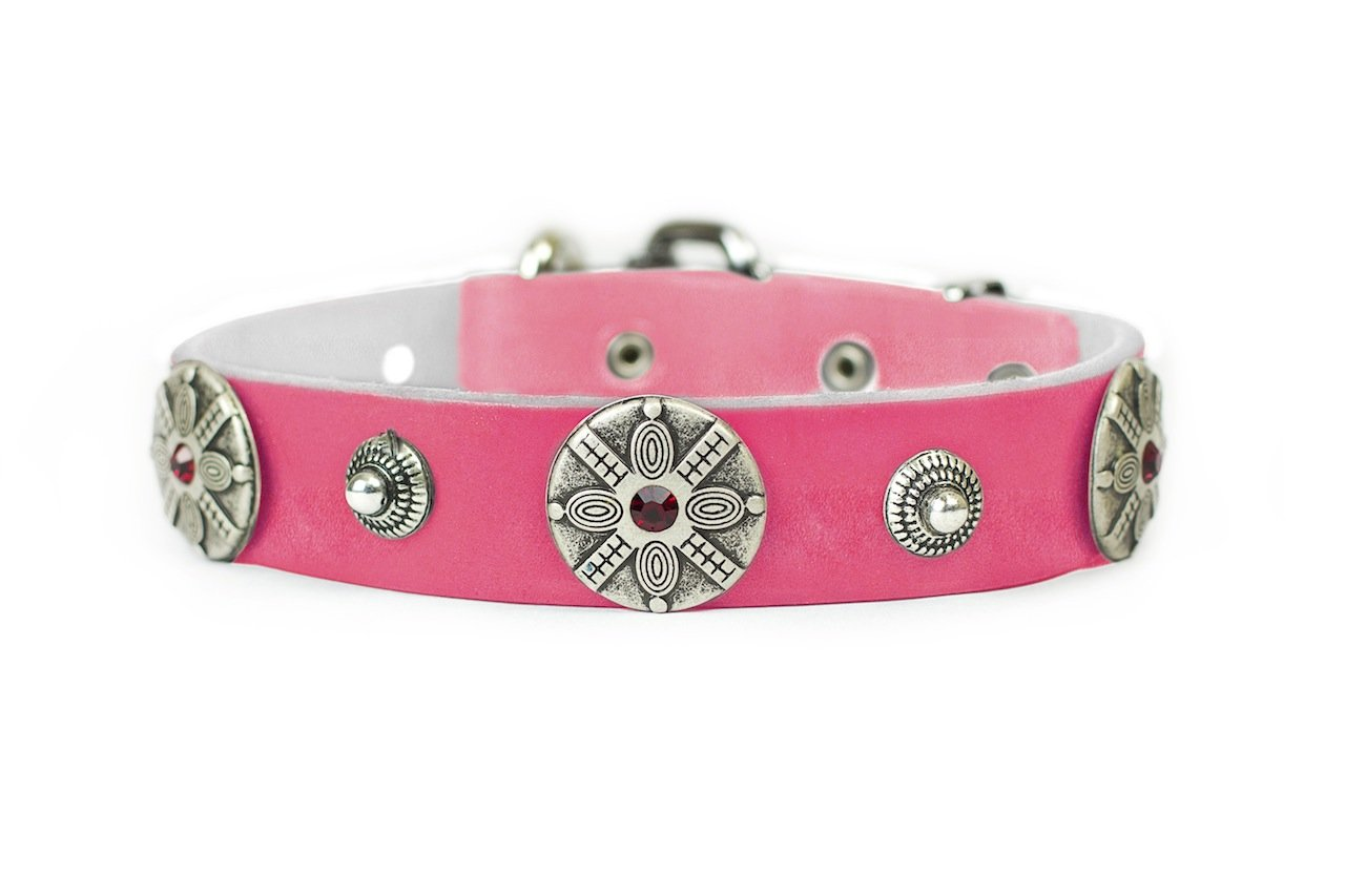 Dean and Tyler  SHAKA  Dog Collar With Nickel Buckle Pink Size 61cm By 4cm Width. Fits neck size 22 Inches to 26 Inches.