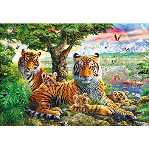 Yeefant Forest King Family Tigers Diamond Painting Sets for Adults, Full Drill 5D DIY Embroidery Paintings Cross Stitch Rhinestone Paintings for Home Wall Decor Art Craft Supplies 30X40cm]()