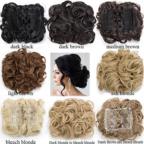 (Short Messy Curly Dish Hair Bun Extension Easy Stretch hair Combs Clip in Ponytail Extension Scrunchie Chignon Tray Ponytail Hairpieces for women- light brown)