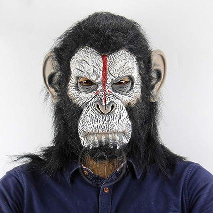 MJ-Máscara Latex Halloween, Hombre Bonobo Sombrero para la Cabeza - Gorila Rise 2