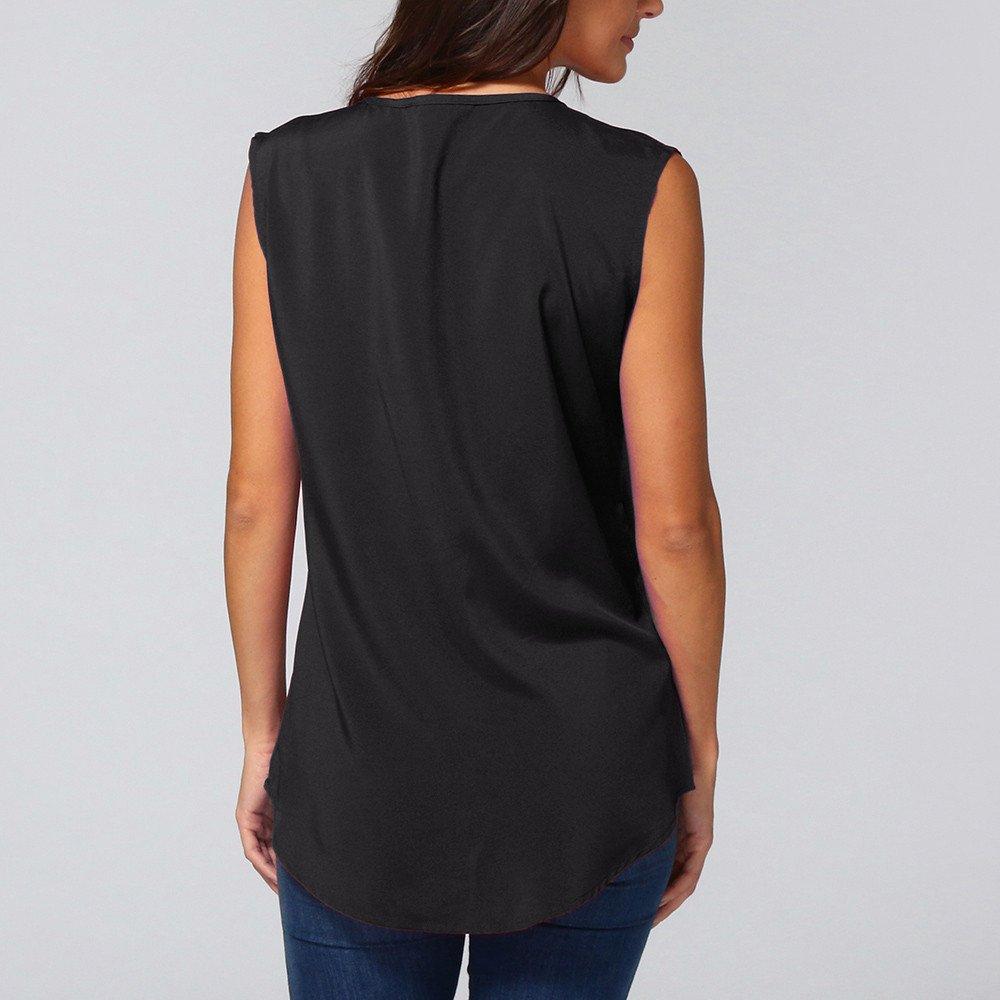 Women's Zipper Tank Tops, Gogoodgo Ladies Loose V-Neck Chiffon Tops Solid Color Sleeveless Skin-Friendly Blouse Black by Gogoodgo vest (Image #3)
