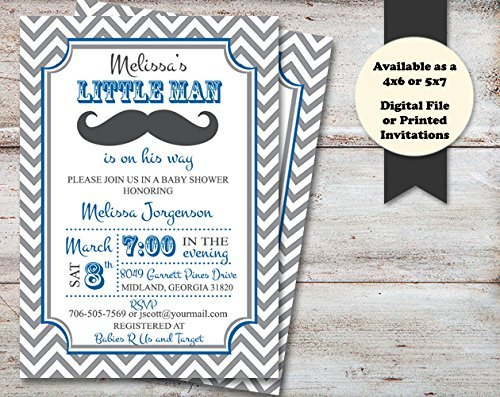 Little Man Baby Shower Invitation, Mustache Shower Invite,