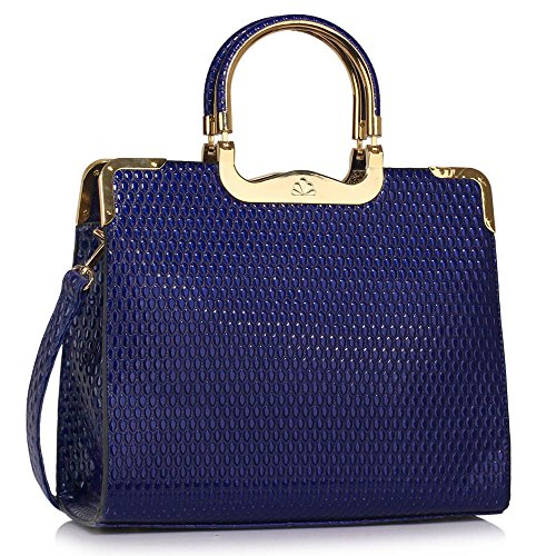 Womens Patent Leather Shoulder Bags Ladies Handbags Designer Style Tote New Croc Design 1 - Navy