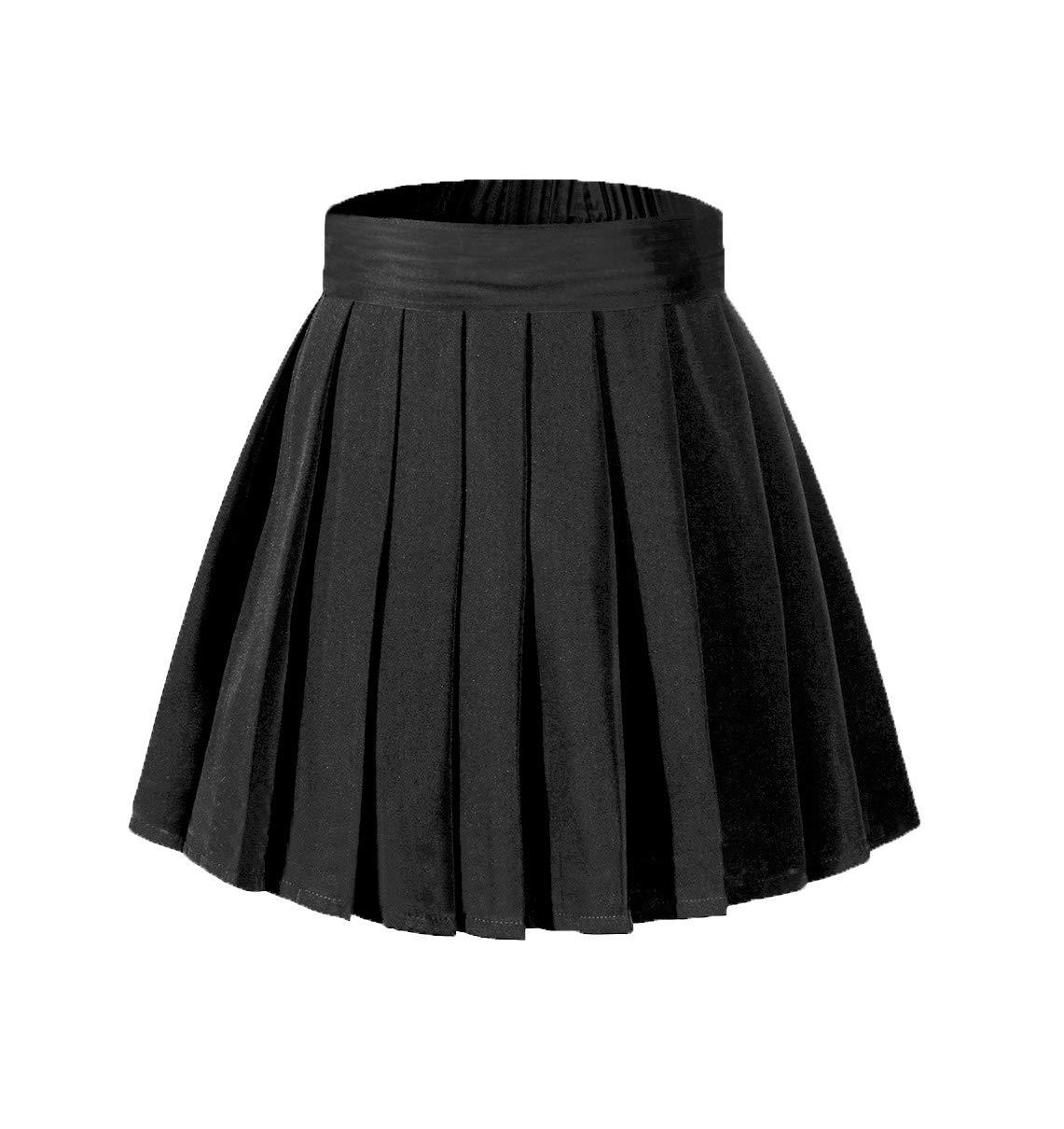 Beautifulfashionlife Girl's Black High Waist Ruffle Elastic Waistbands Skater Skirt with Shorts,S