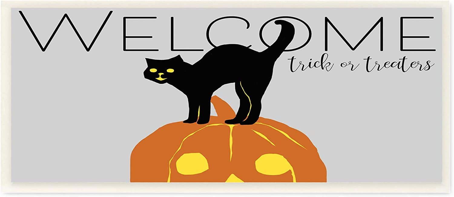 Grey Stupell Industries Welcome Trick Or Treaters Halloween Cat Pumpkin 7 x 17 Designed by Nicholas Biscardi Wall Plaque