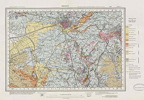 Amazon Com Preston Geological Survey Map Sheet 75 Lancashire Blackburn Chorley 1971 Old Map Antique Map Vintage Map Printed Maps Of Lancashire Posters Prints