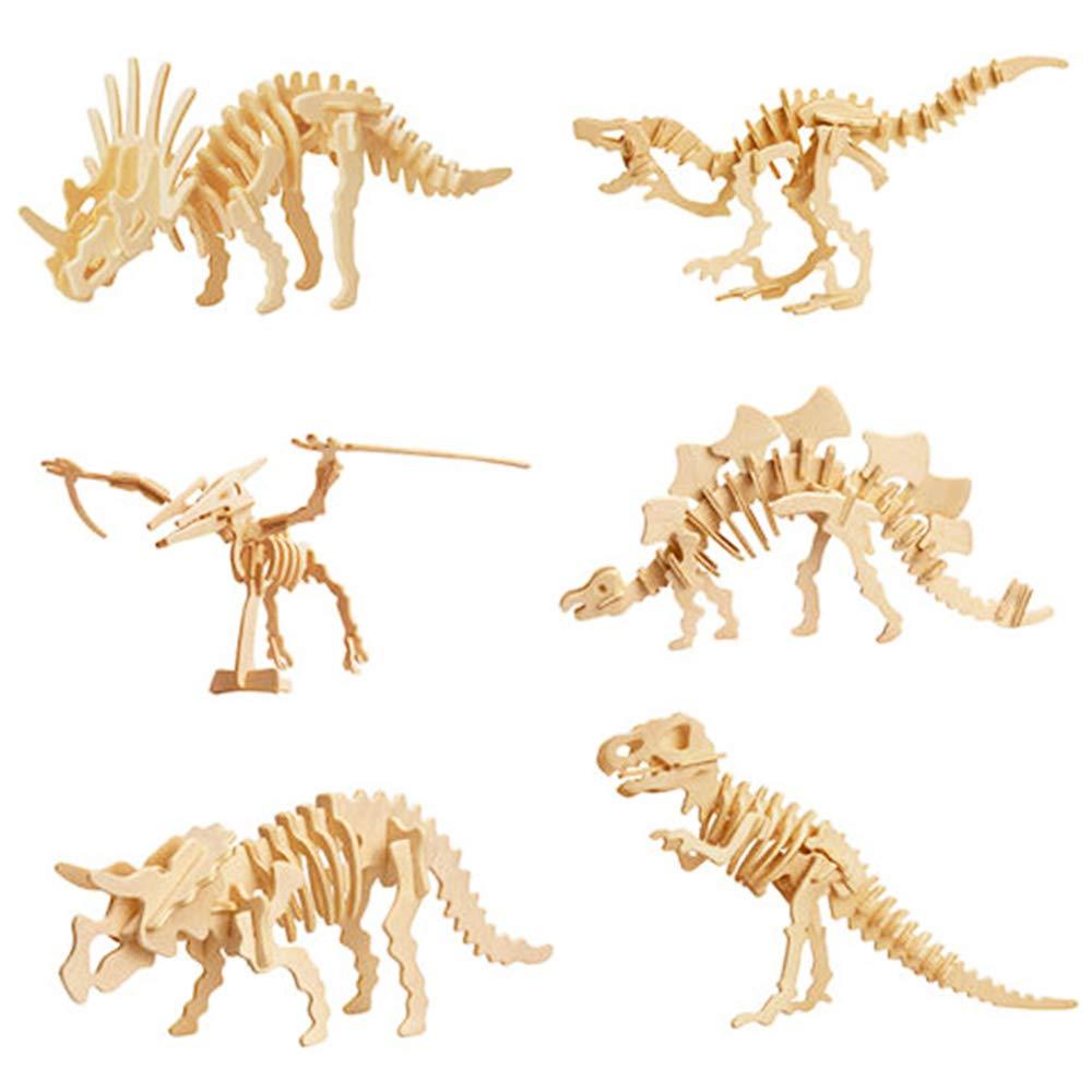 6 Dinosaur Wooden 3D Skeleton Puzzles Professor Puzzle Dinosaur Building Kits for Kids Super Set Wood Craft Model Kits for Kids