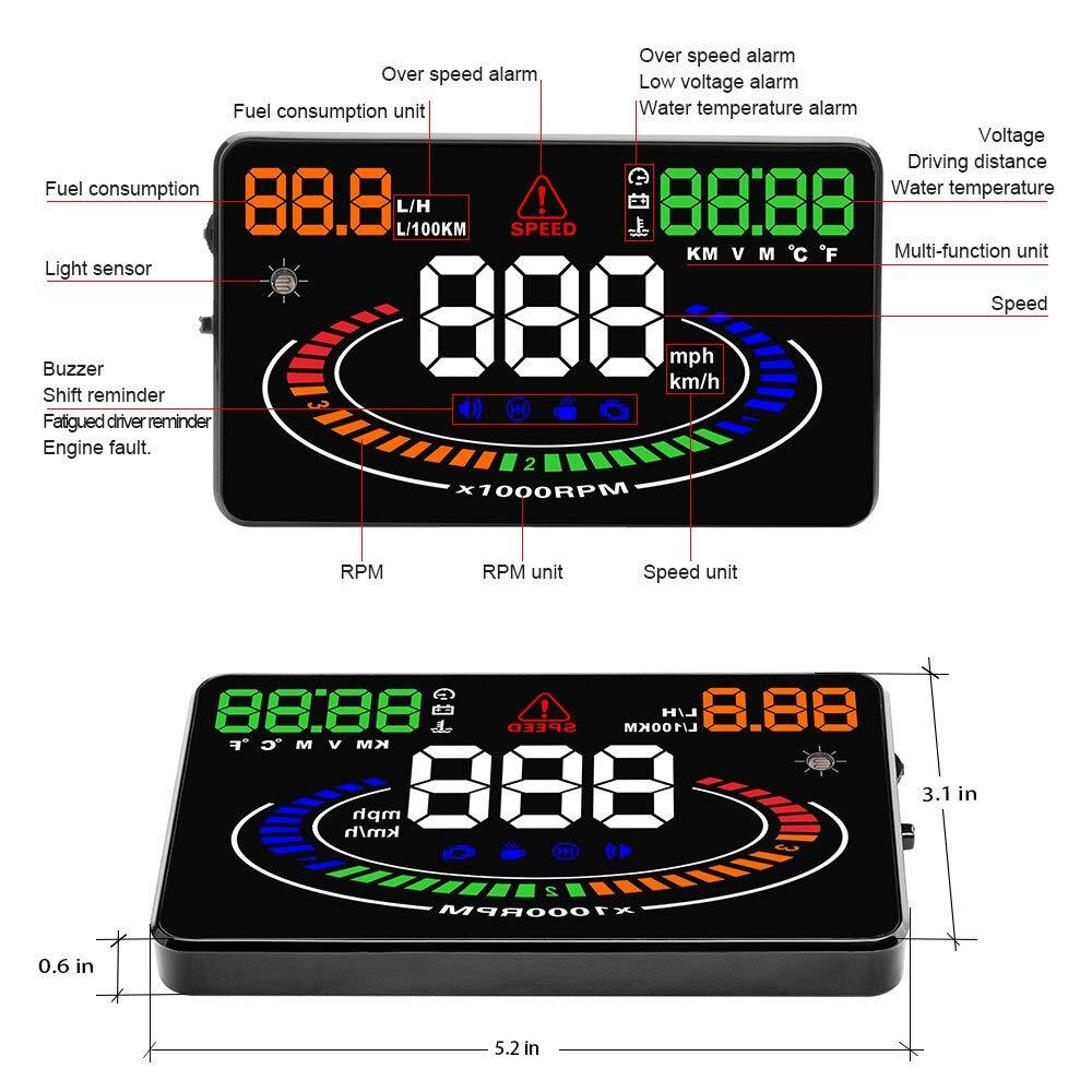 Amazon.com: HUD OBD2 Head Up Display Car velocidad proyector ...