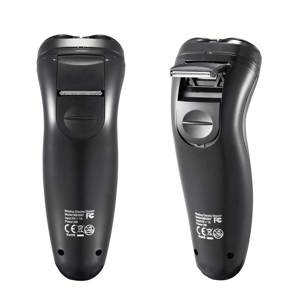 Men's Electric Shaver Cordless Beard Trimmer with 3 Rotary Heads & Pop-up Trimmer - Black