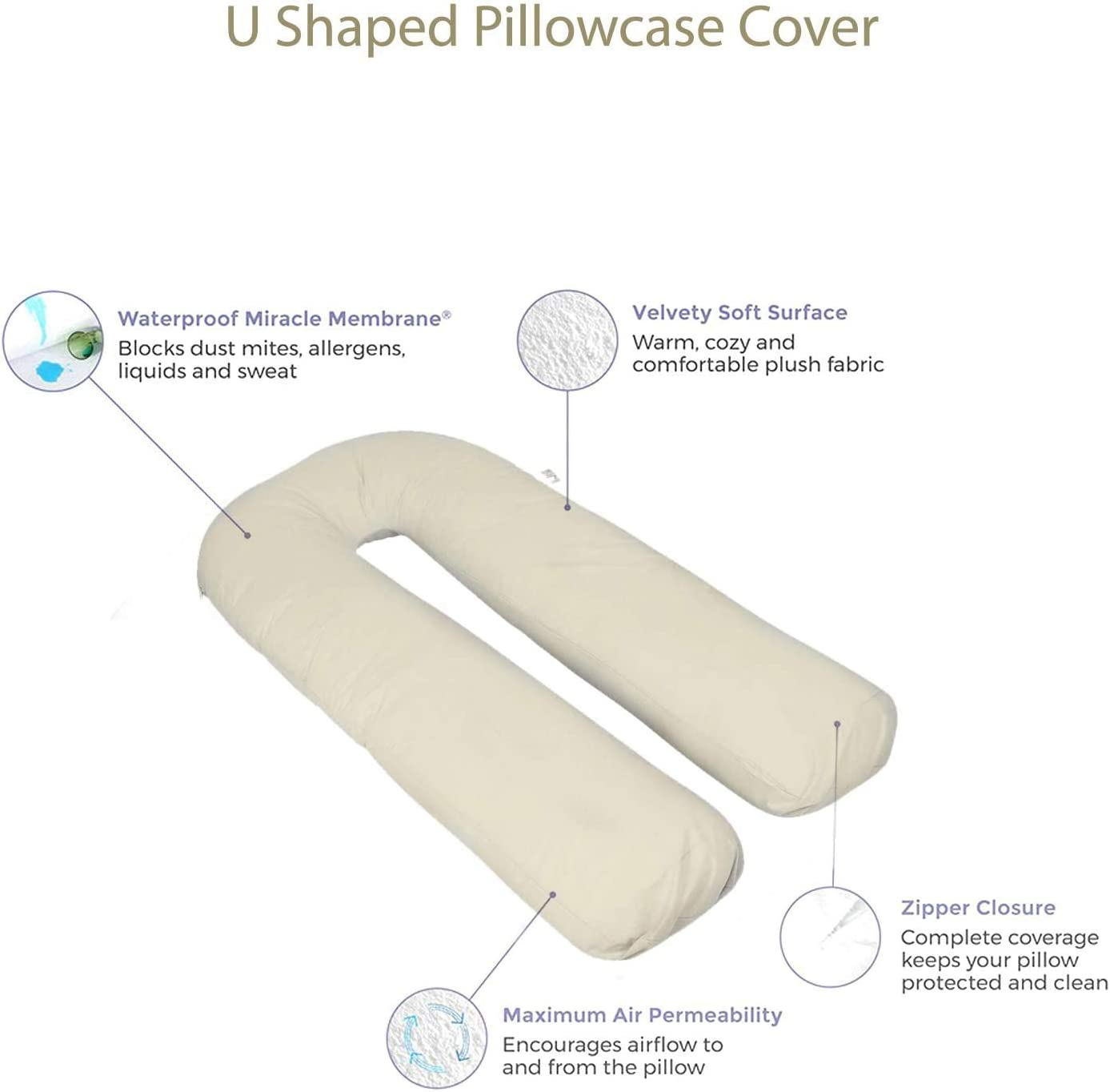 Maternity and Nursing Back Support Cuddle Muscle Relieve U Shaped Pillowcase White, 9 Feets Full Body Pregnancy Orthopedic Pillow Cover for Side Sleeping
