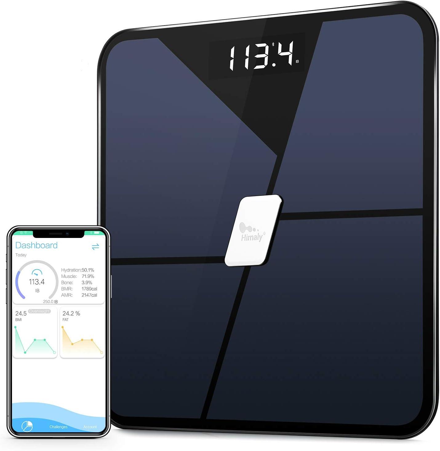 Himaly Pèse-personne Impedancemetre Connecté Bluetooth Electronique Ecran Rétroéclairé Mesure du Poids Graisse IMC Eau Masse osseuse Calorie Graisse viscérale et métabolique Pour IOS et Android