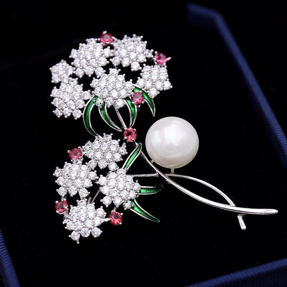 MAFYU Brooch Pearl Flower Brooch Pearl Corsage Suit Collar Needle Plastron Ornament Accessories Christmas Clothing Accessories