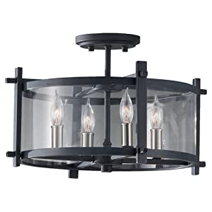"Feiss SF292AF/BS Ethan Glass Semi Flush Ceiling Lighting, Iron, 4-Light (16""Dia x 11""H) 240watts"
