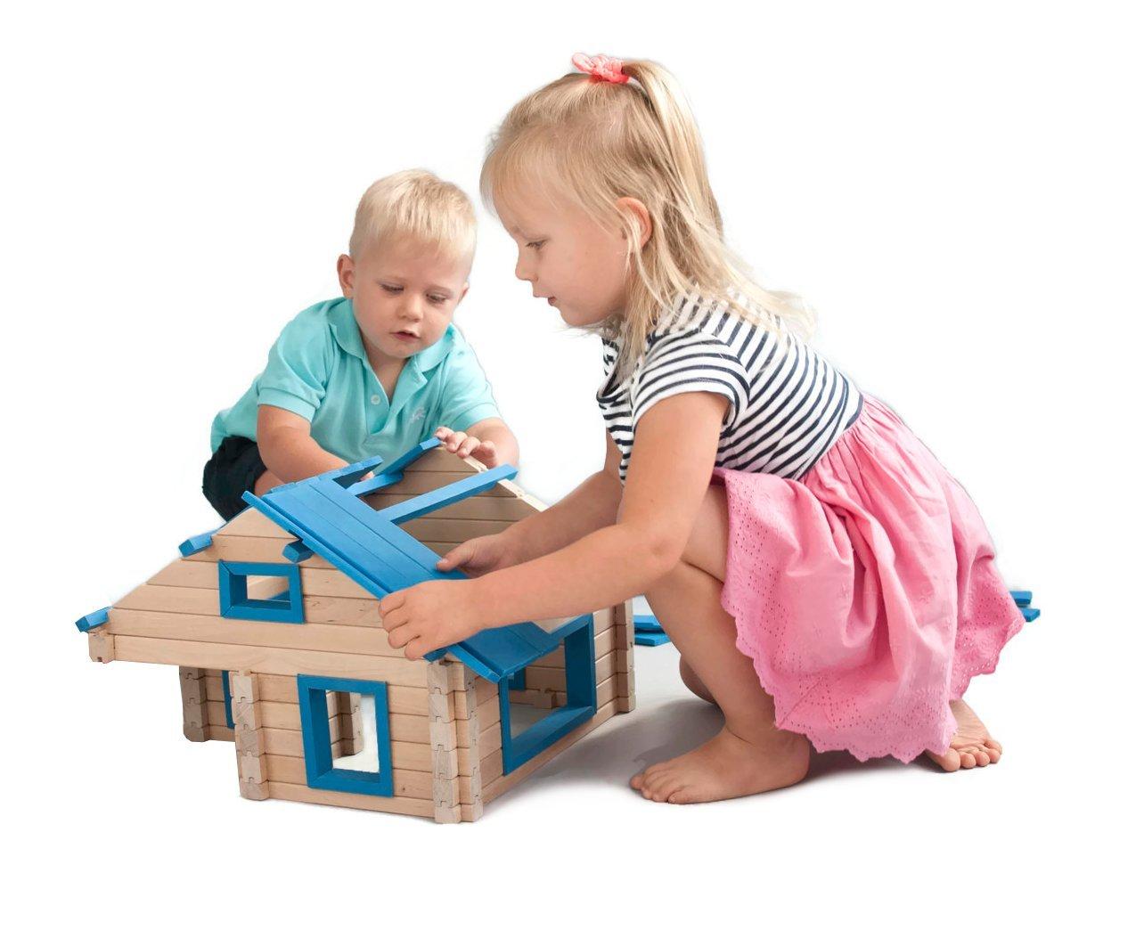 AMBLO Holzklötze für Kinder holzbausteine natur Bausteine für Kinder aus Holz 002