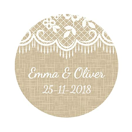 Ekunstreet 48x personalised 40mm round wedding favour stickersburlap and lace pattern wedding favour