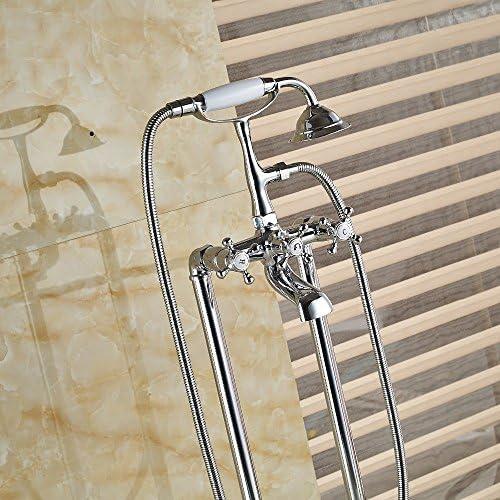 ZY-YY ハンドシャワーミキサータップ、マルチと蛇口無料立ちクローム真鍮の浴室の浴槽の蛇口