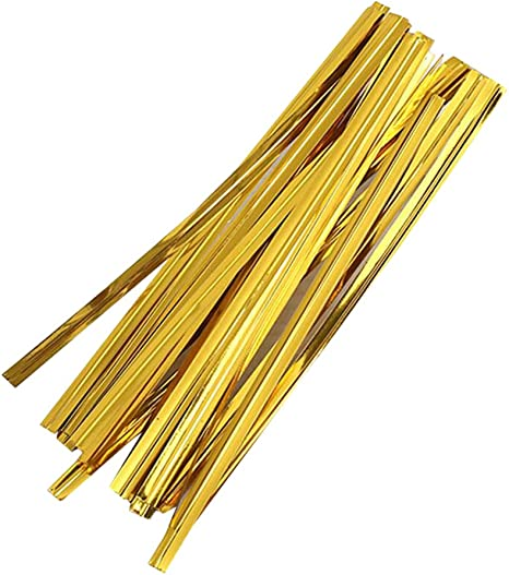 Toyvian 800Pcs Golden Twist Ties Bread Candy Bag Ties Party ...