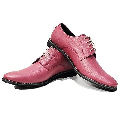 Modello Piko - 41 EU - Cuero Italiano Hecho A Mano Hombre Piel Rosado Zapatos Vestir Oxfords - Cuero Cuero Repujado - Encaje 4QCYYkrLQV