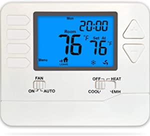 Suuwer SW725 Heat Pump Thermostat 5/1/1 Day Programmable Up To 2 Heat / 1 Cool