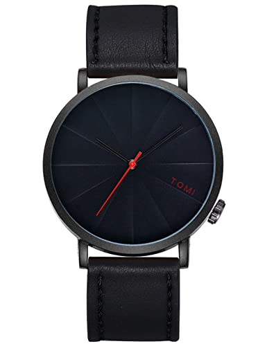 Amazon.com: Mens Quartz Watches COOKI Clearance Retro Analog Cheap Watches on Sale Leather Wrist Watches for Men-A256 (black-1): Watches