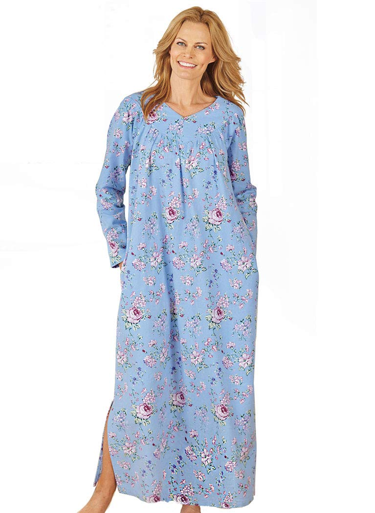 AmeriMark Women's Floral Flannel Gown LG (14-16) / Blue Multi