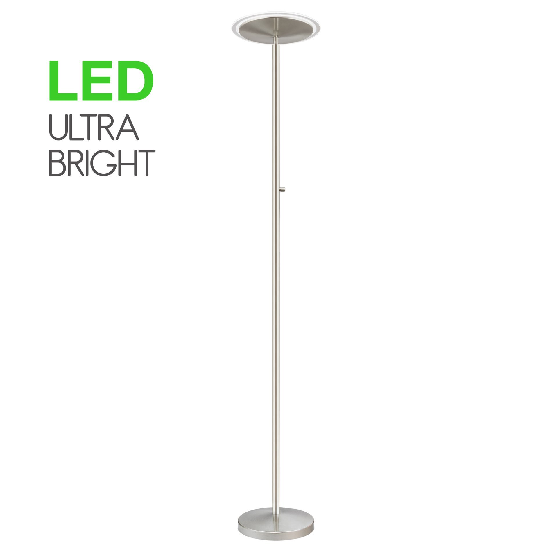 Kira Home Horizon 70'' Modern LED Torchiere Floor Lamp (36W, 300W eq.), Glass Diffuser, Dimmable, Timer and Wall Switch Compatible, Adjustable Head, 3000k Warm White Light, Brushed Nickel Finish