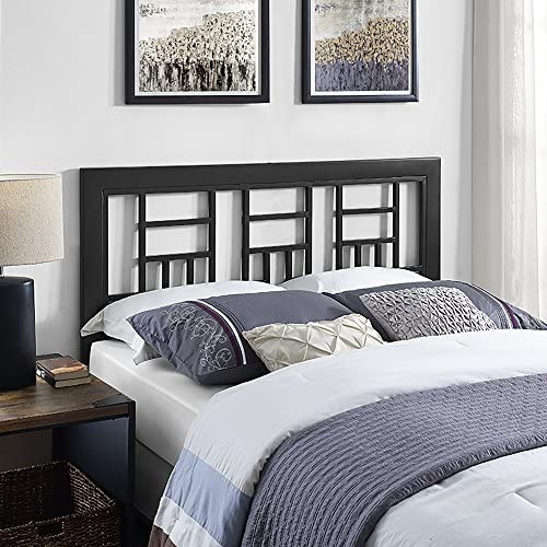 Walker Edison Rustic Metal and Wood Slatted Queen Headboard Footboard Bed Frame Bedroom