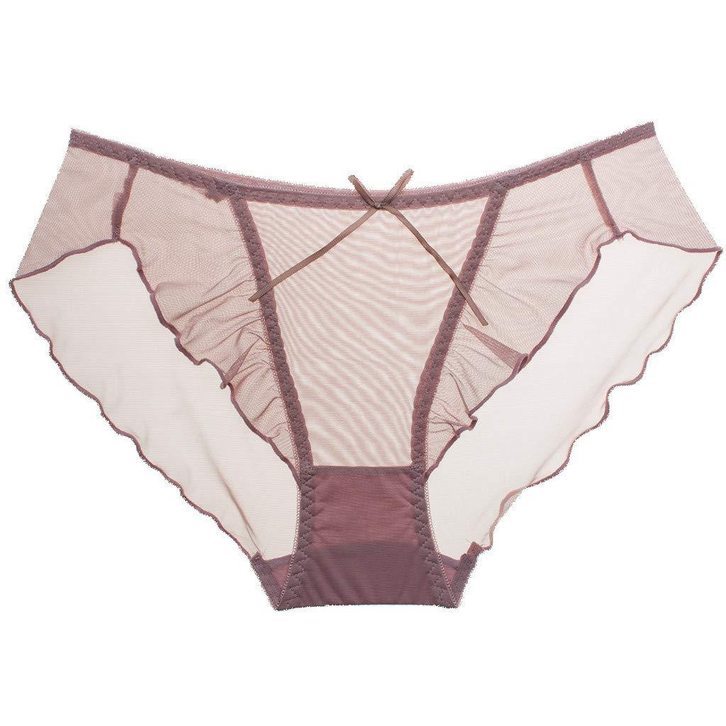 Women's Sexy Lingerie Lace Lotus Edge Transparent Mesh Mid-Low Waist Ladies Underwear Pink