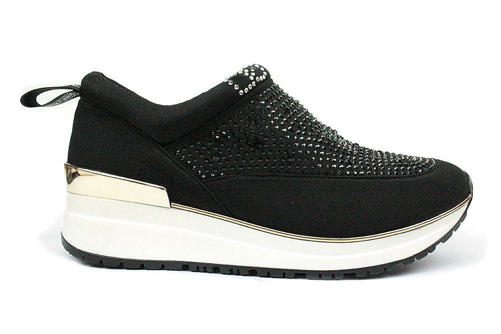 06 MILANO - Sneakers da Donna con Strass, Primavera/Estate (Nero,38) SN0122_3