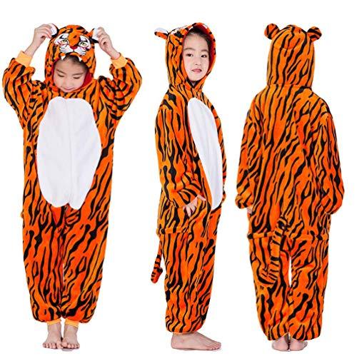 Unisex Kids One Piece Nightwear Onesie Pajamas Cosplay Animal Costume (Tiger, 100 (fit Height 90-100cm)) ()