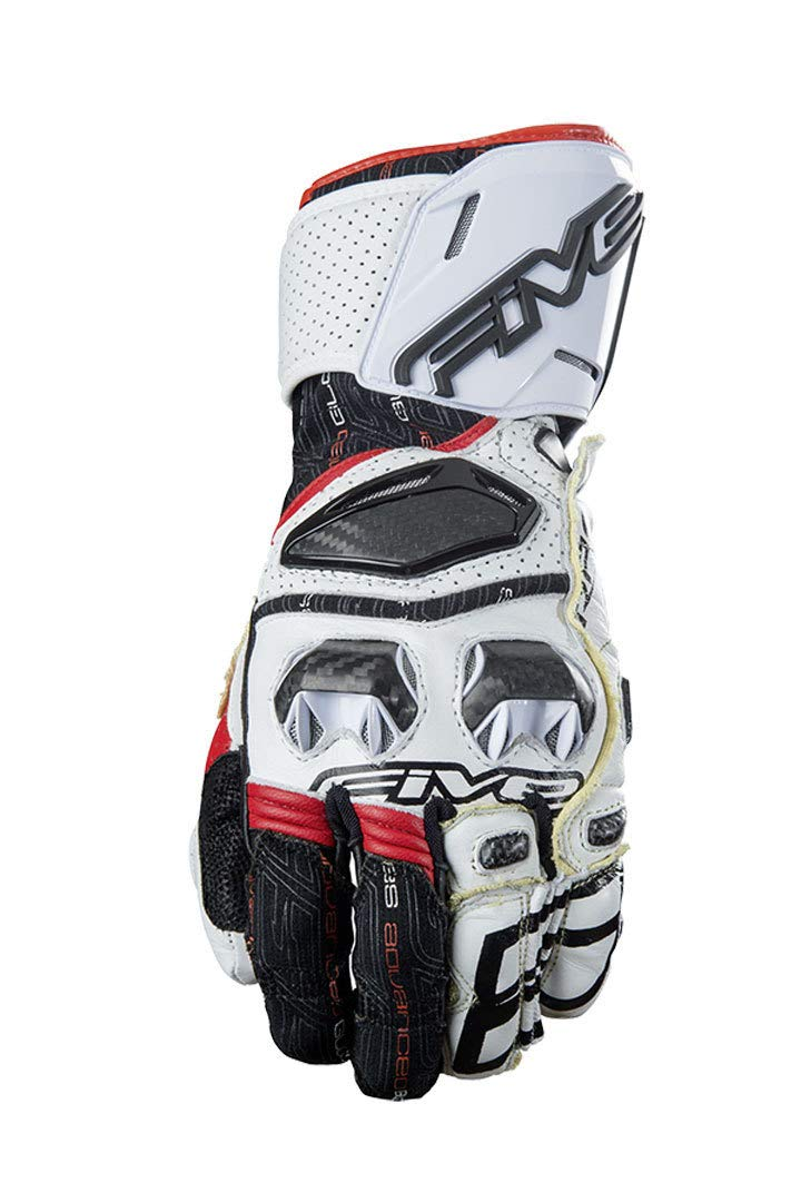 Five Gloves RFX Gauntlet Race Glove White/Red Small (More Size and Color Options)