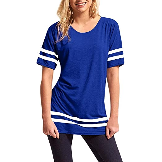DondPO Stripe Baggy Top Short Sleeve Sport Pullover T Shirts Blouse omens Tops Casual Blouse Summer