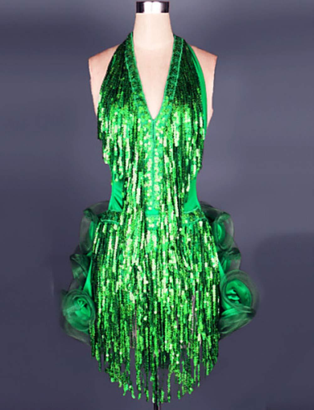 輝く高品質な ラテンダンスドレス Green & スカート女性のトレーニングパフォーマンススパンデックススパンコールシャーリングタッセルノースリーブドレスサンバ Medium|Green B07PCPBV2P Medium|Green Green & Medium, 悠彩堂:4e459309 --- a0267596.xsph.ru
