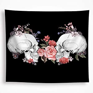 All Smiles Aesthetic Skull Tapestry Black & White Wall Hanging Flowers Skeleton Décor 59