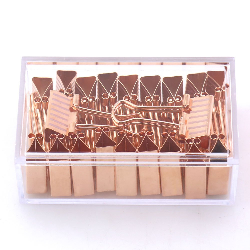 OUTU 20 pcs/box Fresh Style point striation print rose gold Metal Binder Clips Notes Letter Paper Clip Office Supplies H0150 (line)