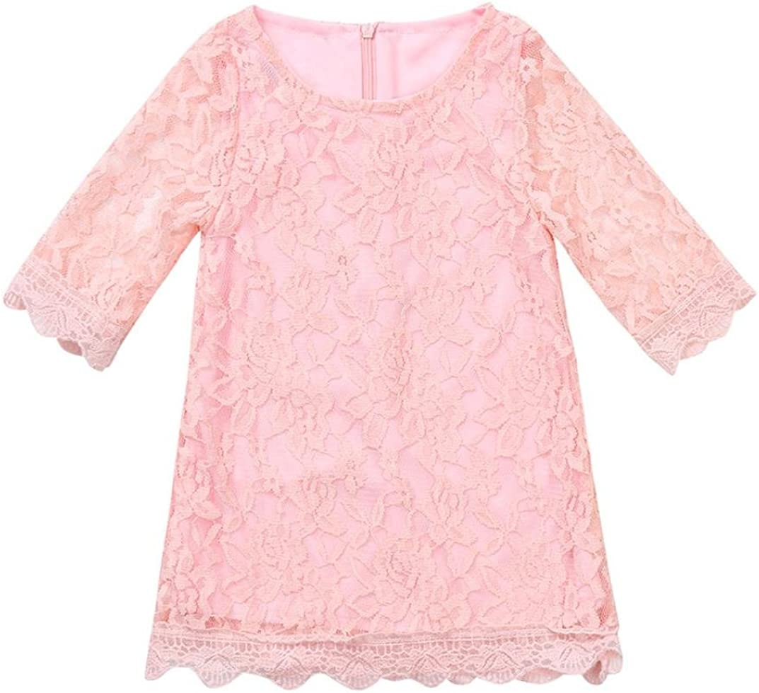 FORESTIME Summer Baby Girls Flower Lace Long Sleeves Tulle/Breathable Dress Country Zipper Dresses Princess Outfits