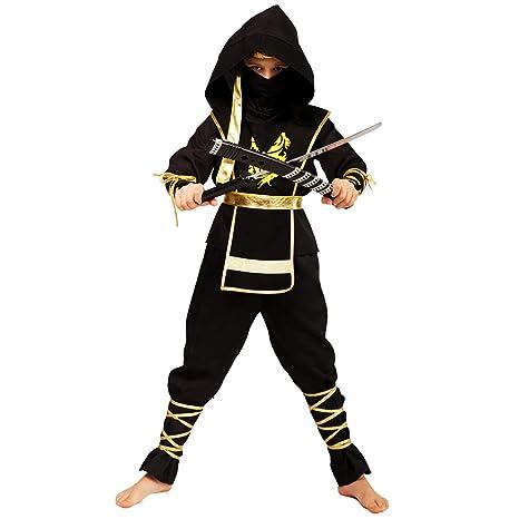 Amazon.com: Disfraz de ninja de dragón dorado para niños ...